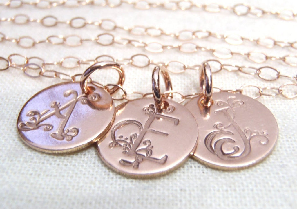rose gold fancy initial necklace 14k gold fill personalized with ornate initial - Drake Designs Jewelry