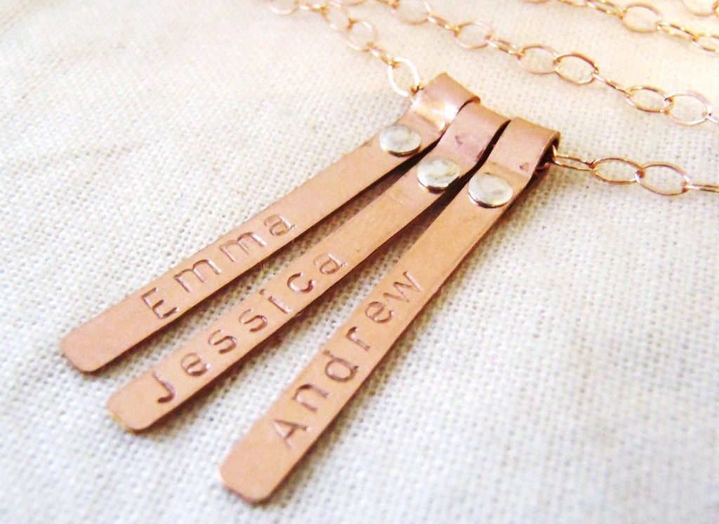 Rose gold filled riveted name necklace. Personalized tiny bar mom necklace with kid's names - Drake Designs Jewelry