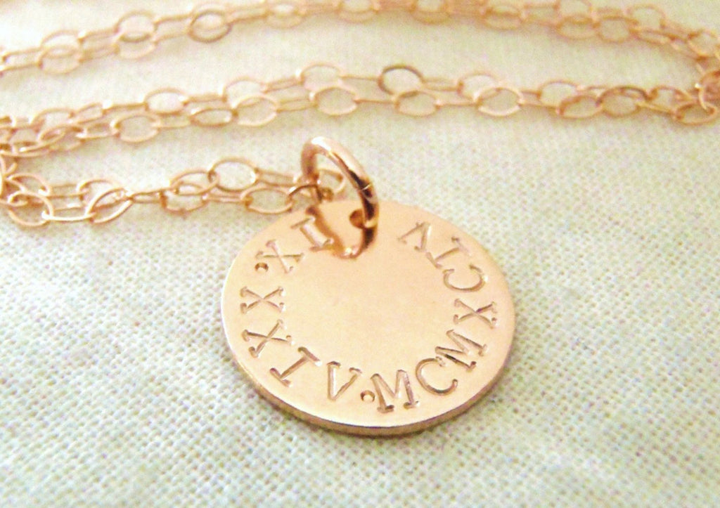 Rose gold Roman numeral necklace personalized 14k gold fill anniversary gift for her - Drake Designs Jewelry