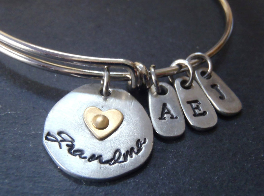 Personalized grandma bracelet - mixed metal bangle with grandkids initials - Drake Designs Jewelry