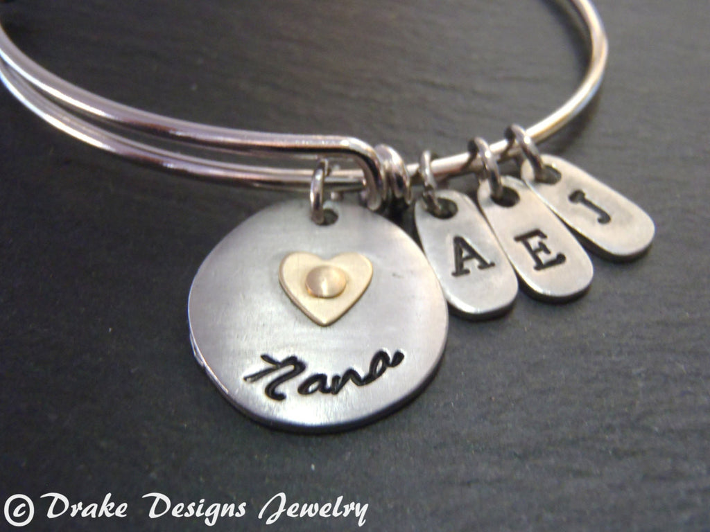 Unique personalized Nana bangle bracelet gifts for nana - Drake Designs Jewelry