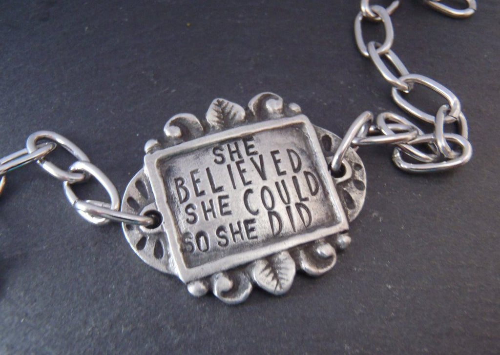 she believed she could so she did - Inspirational bracelet - Drake Designs Jewelry