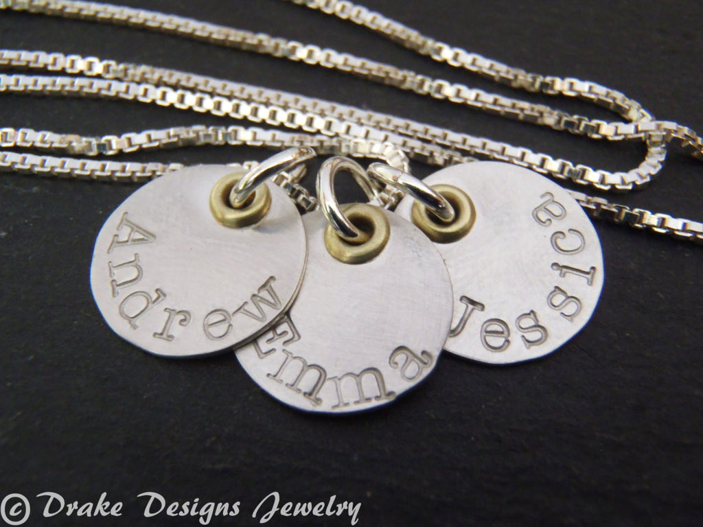 Tiny personalized name necklace hand stamped jewelry for mom - Drake Designs Jewelry