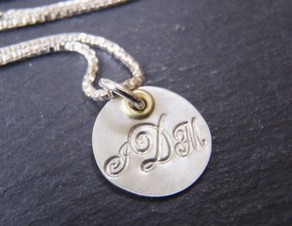 Personalized women's monogram necklace - mixed metal sterling silver - Drake Designs Jewelry