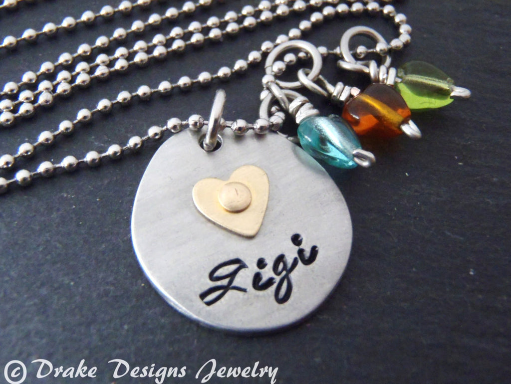 Unique Gigi necklace with birthstones grandmother jewelry - Drake Designs Jewelry