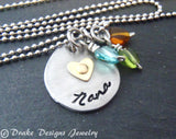 Unique Nana necklace personalized jewelry Mothers Day gift grandma birthstone necklace - Drake Designs Jewelry