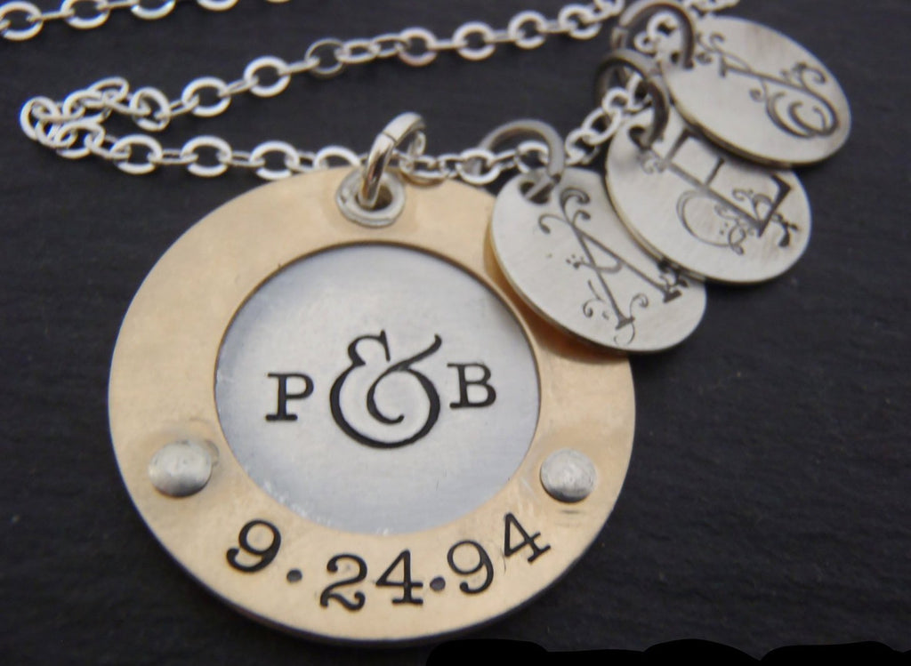 Mixed metal Children's initial necklace for moms with couples initials and anniversary date - Drake Designs Jewelry