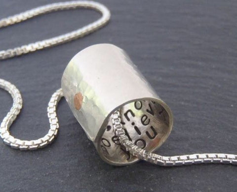 Sterling silver Secret Message necklace personalized for him or her - Drake Designs Jewelry