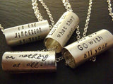 Personalized Inspirational Necklace-  hand stamped sterling silver with custom message or inspirationa quote - Drake Designs Jewelry