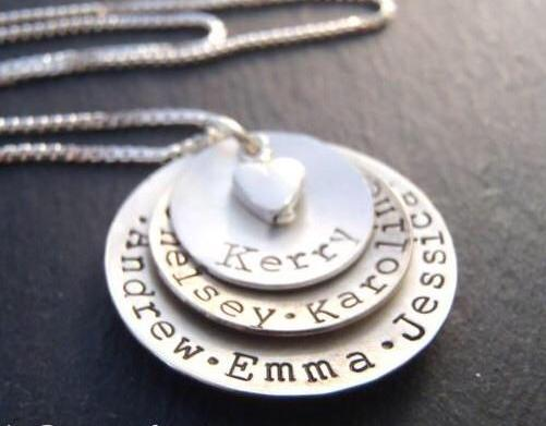 Layered mom necklace with names. Hand crafted from solid Sterling silver, slightly concave with a heart nestled at the center - Drake Designs Jewelry