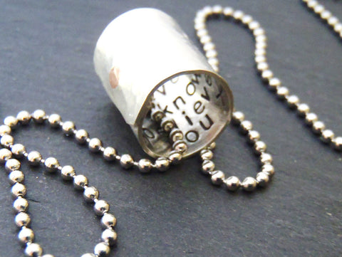 Silver secret message necklace for men or women - Drake Designs Jewelry