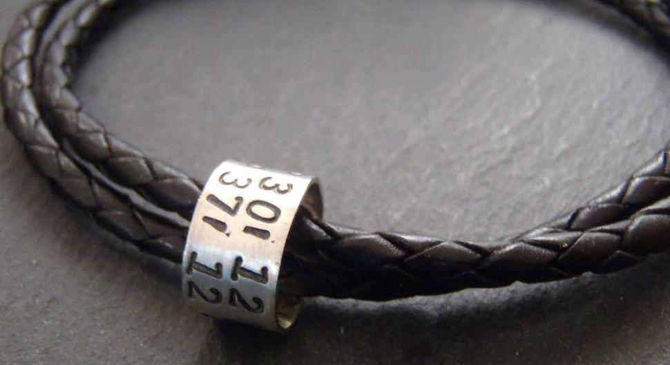 Coordinates bracelet for men leather and Sterling silver with custom latitude longitude