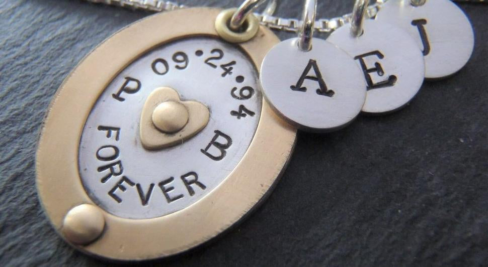 Mothers necklace with kid's initials personalized gift for mom