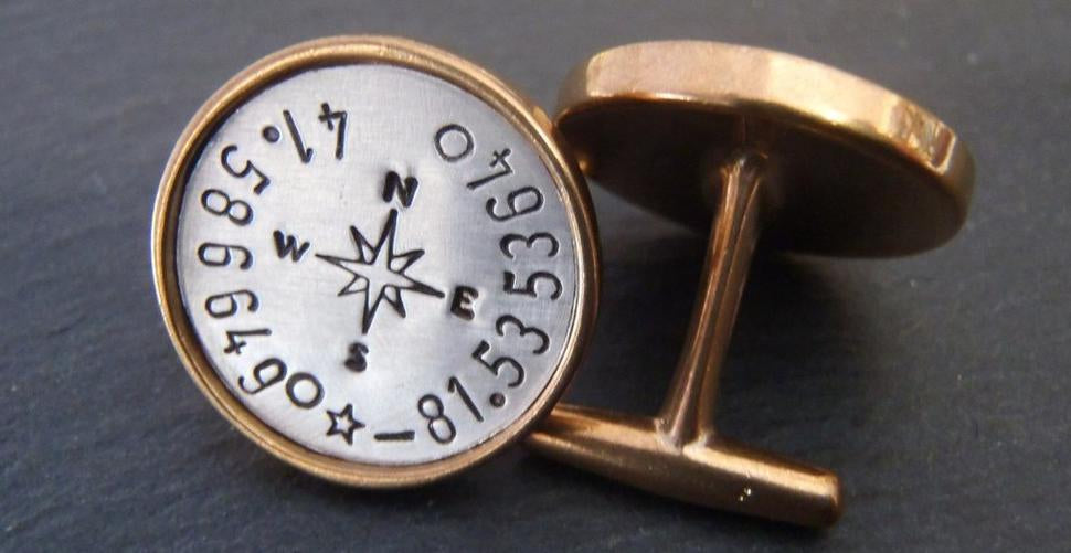 Personalized cufflinks with coordinates for men