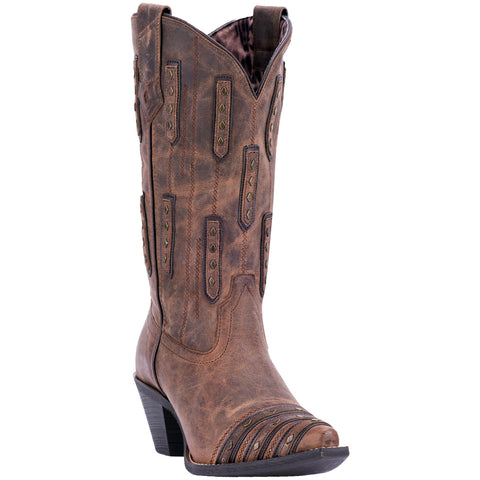 Laredo Ladies Whiskey Sour Brown Studded Western Boots 52124