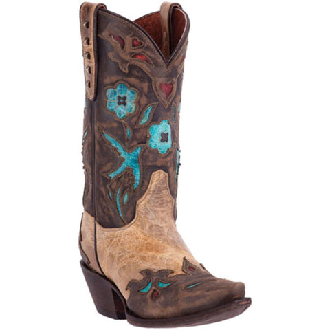Dan Post Ladies Vintage Bluebird Beige Inlay Wingtip Boots DP3538 - Wild West Boot Store - 1