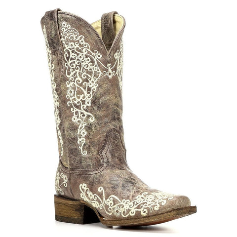 Corral Ladies Brown Crater Bone Embroidered Boots A2663 - Wild West Boot Store - 1