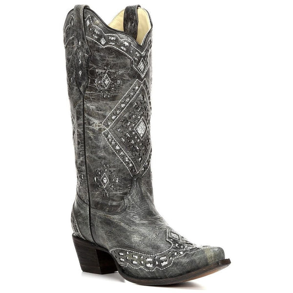Corral Ladies Black and Silver Glitter Inlay Boots A2963 - Wild West Boot Store - 1