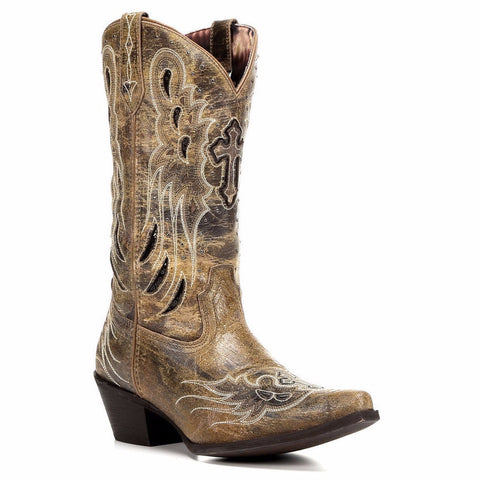 Laredo Ladies Brown Cross and Wing Boot 52157 - Wild West Boot Store - 1