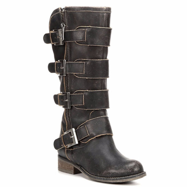 Corral Ladies Distressed Black Straps and Zipper P5079 - Wild West Boot Store - 1