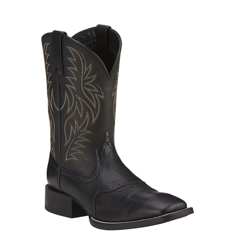 Ariat Men's Black Sport Wide Square Toe Western Boot 10016292 - Wild West Boot Store