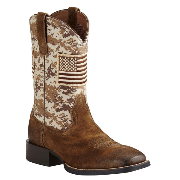 Ariat® Men's Sport Patriot Sand Storm Camo Amercan Flag Boots 10019959