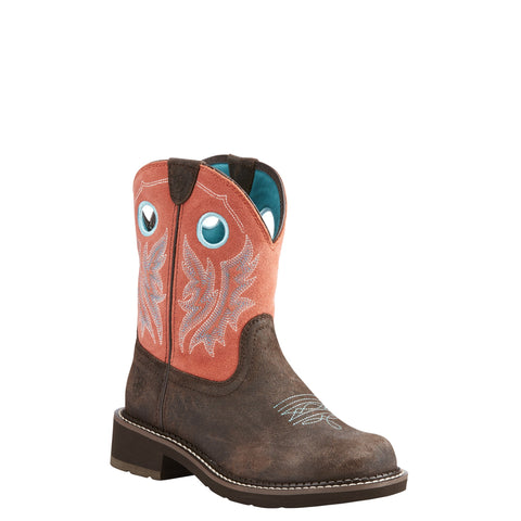 Ariat® Ladies Fatbaby Heritage Cowgirl Chocolate Coral Boots 10023114
