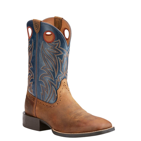 Ariat® Men's Sport Sidebet Distressed Brown Solid Blue Boots 10025130 - Wild West Boot Store