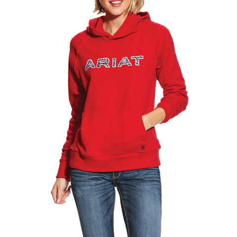Ariat® Ladies R.E.A.L Bandana Logo Red Hoodie Sweatshirt 10025923