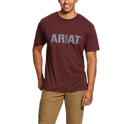 Ariat Men's Rebar Cottonstrong Block Logo Burgundy Shirt 10030289