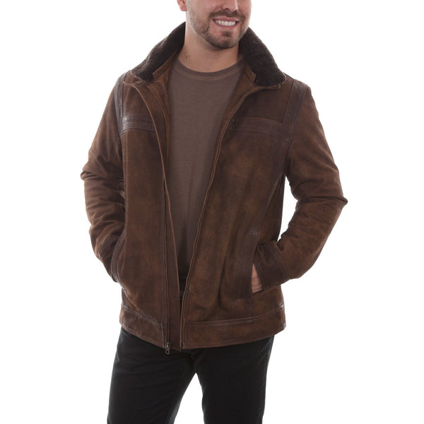 Scully Men's Shearling Collar Brown Suede Leather Jacket 1010-429