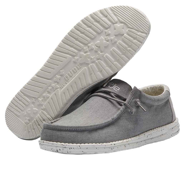 Hey Dude Men's Wally Chambray Frost Grey Shoes 110063224