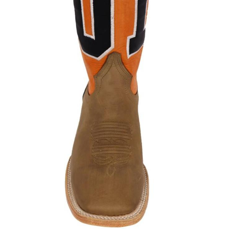 Brown//orange boys leather boots