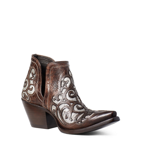 Ariat Ladies Dixon Glitter Crackled Taupe & Silver Western Boots 10033960
