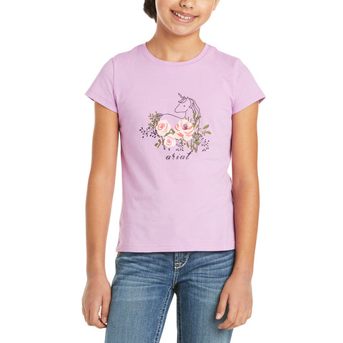 Ariat Children's Rosy Unicorn Short Sleeve Violet Tulle Shirt 10035267