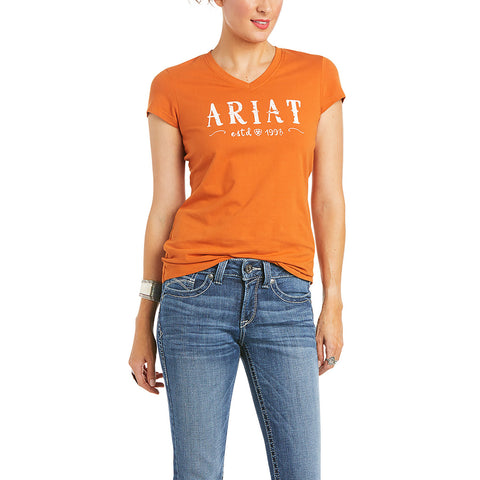 Ariat Ladies Real Autumnal Logo Short Sleeve Tee Shirt 10035214