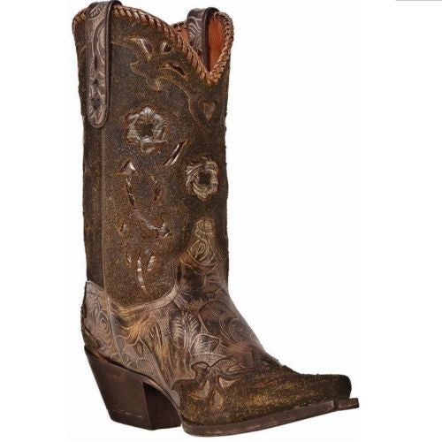 Dan Post Ladies Bronze Olive Floral Boot DP3626 - Wild West Boot Store - 1