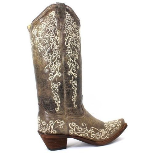 Corral Distressed Brown with Bone Embroidery Cowgirl Boots A1094 - Wild West Boot Store - 3