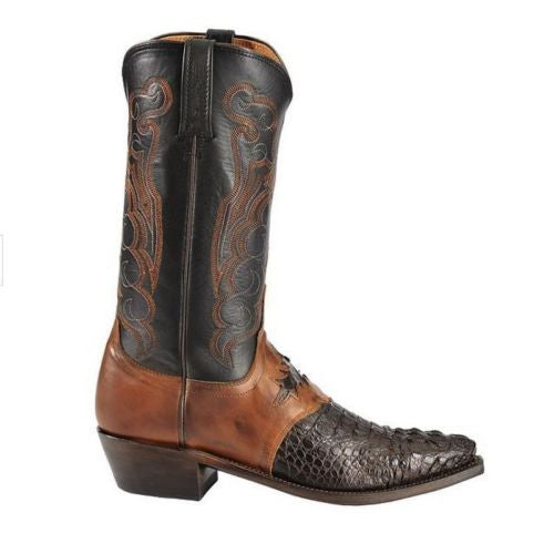 Lucchese Men's Barrell Brown Saddle Hornback Caiman Boots M2535.54 - Wild West Boot Store - 3