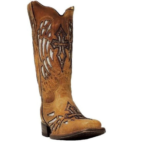 Cowtown Ladies Tan Sequence Wing and Cross Boot F402 - Wild West Boot Store - 1