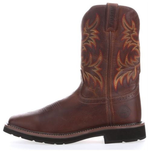 Justin Men's Brown Stampede Square Toe Work Boot WK4681 - Wild West Boot Store - 5