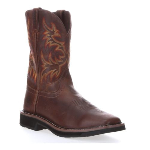 Justin Men's Brown Stampede Square Toe Work Boot WK4681 - Wild West Boot Store - 1