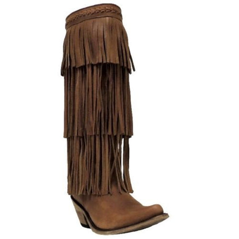 Liberty Black Ladies Brown 3 Tiered Fringe Boot LB-71126 - Wild West Boot Store - 1
