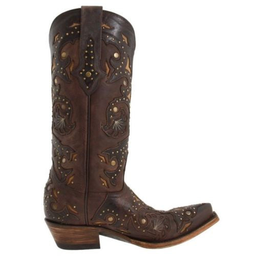 Lucchese Women's Chocolate Studded Scarlet Boots M5015 - Wild West Boot Store - 2