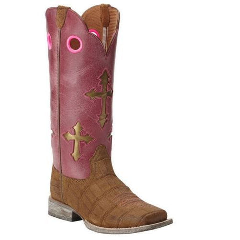 Ariat Children's Pink Cross Ranchero Western Boot 10014121 - Wild West Boot Store