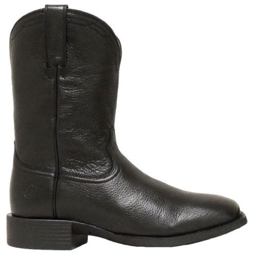 Ariat Men's Heritage Roper Wide Square Toe Black Deertan 10015291 - Wild West Boot Store