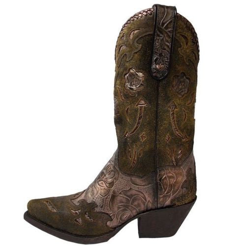 Dan Post Ladies Bronze Olive Floral Boot DP3626 - Wild West Boot Store - 2