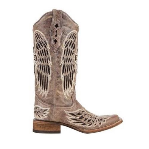Corral Ladies Brown - Black Wing & Cross Sequence Square Toe Boots A1197 - Wild West Boot Store - 2