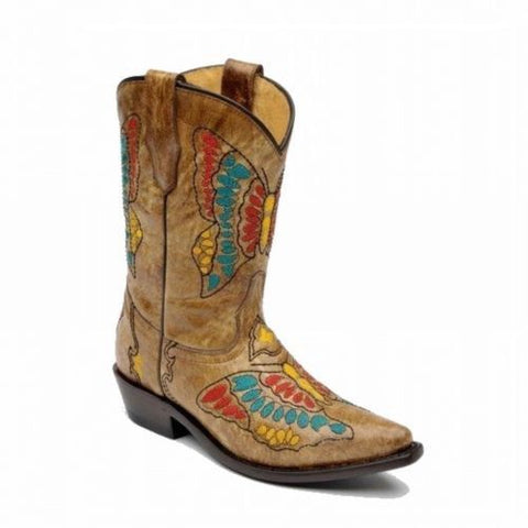 Corral Kids Tan Multi Color Butterfly Cowgirl Boot G1057 - Wild West Boot Store - 1