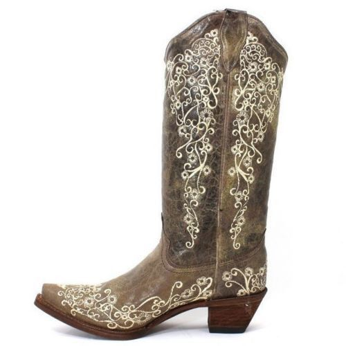 Corral Distressed Brown with Bone Embroidery Cowgirl Boots A1094 - Wild West Boot Store - 4